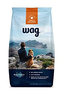 WAG Amazon Brand Dry Dog Food, No Added Grain, Turkey & Lentil Recipe, 30 lb. Bag