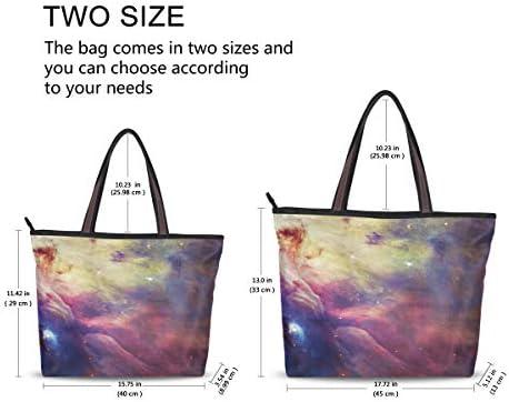 BKEOY Grand sac à bandoulière pour femme Galaxy Violet nébuleuse