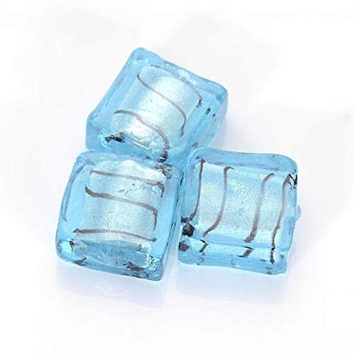 - Pukido 10 Pcs 12MM Glass Chamilia Beads Flat Square Silver Foiled Glass Lampwork Spacer Beads for DIY Jewelry Making Accessories - (Color: Aquamarine Twining)