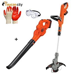 BLACK+DECKER 20-Volt MAX Lithium-Ion Cordless String Trimmer/Sweeper Combo Kit (2-Tool) with (2) 1.5Ah Batteries and Charger Included LCC322 and Toucan City Nitrile Dip Gloves (5-Pack) and Safety Gogg