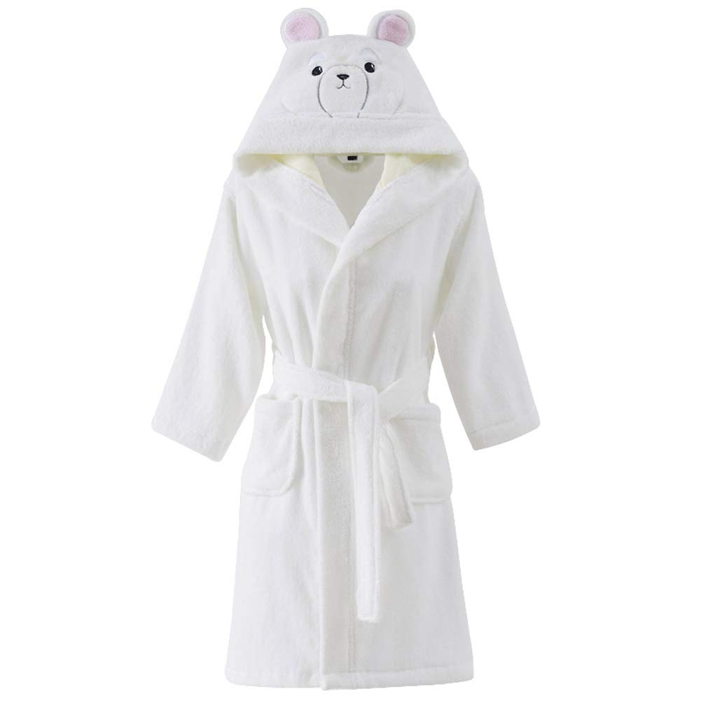 Kids Cotton Terry Cloth Robe Boys Girls Bathrobe Long Sleeve Hoodie Animal Pajamas