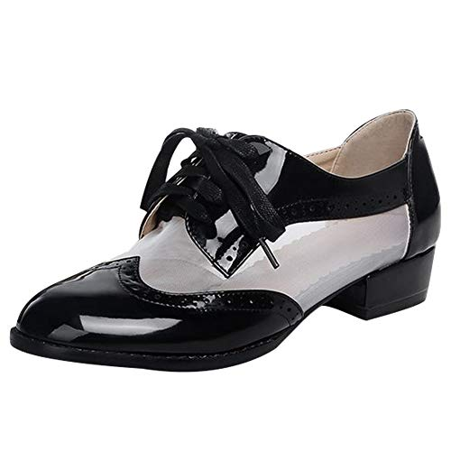 Show Shine Women's Fashion Mesh Oxfords Shoes (9, Black White mesh)