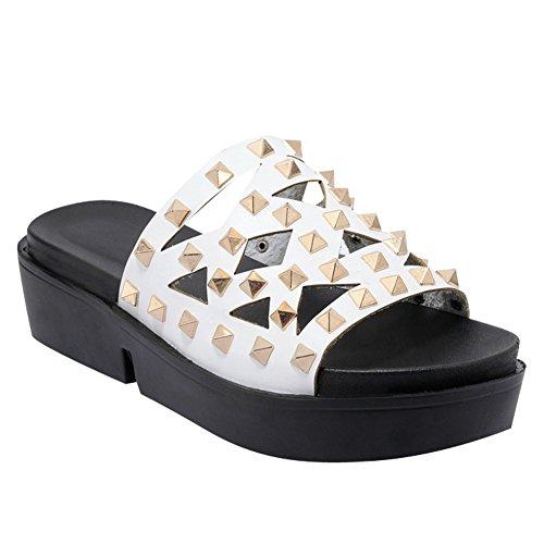 Pied De Charme Femmes Confort Rivet Mi-talon Plate-forme Sandales Pantoufles Blanc