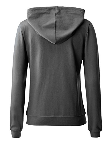 Regna X Women's Long Sleeve Casual Pullover Full Zip Hoodie Grey M by Regna X (Image #6)