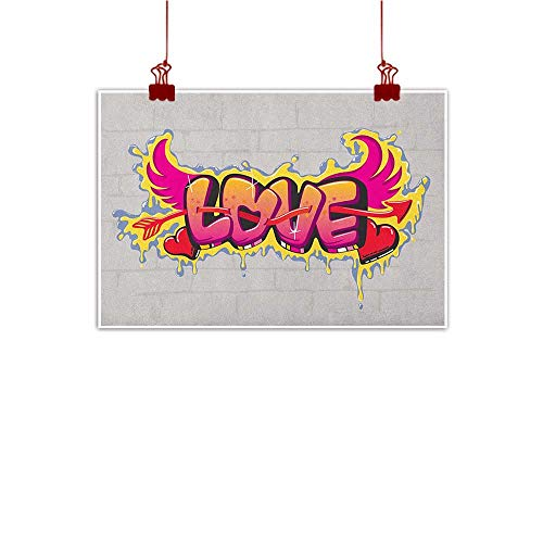 Anyangeight Art Poster Print Love,Valentines Lettering Wall Brushing Dripping Street Wings Illustration, Beige Pink Yellow Red 48