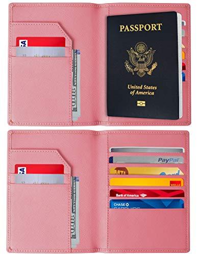 RFID Blocking Passport Holder – Genuine Leather RFID Passport Holder – Slim Passport Wallet Cover Case (Light Pink) ()