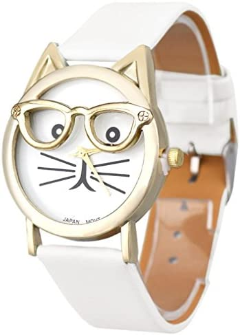 Womens Watch Leegor Girls Cute Glasses Cat Analog Quartz Dial Wrist