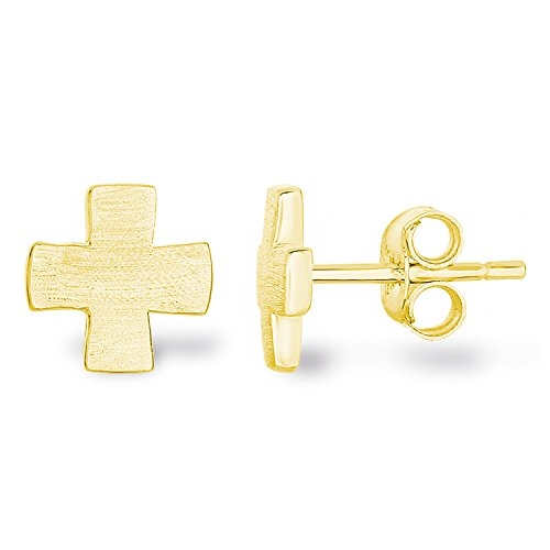 14k Yellow Gold Plated 925 Sterling Silver Matte Finish Brushed Texture Plain Greek Cross Stud Earrings