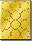 240 Label Outfitters Gold Foil Laser Only Labels, 2-1/2 inch Round, 20 Sheets