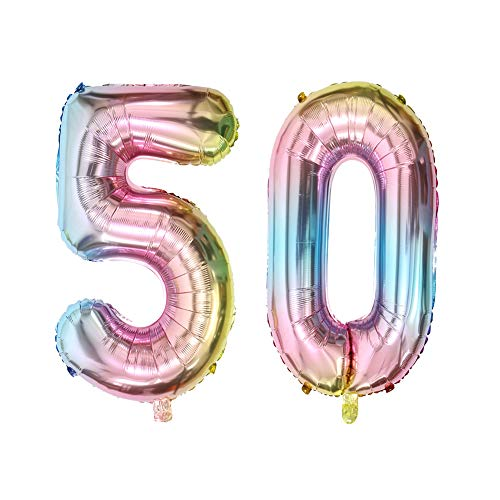 40inch Number 50 Balloons Rainbow Color Foil Jumbo Mylar Balloon for 50th Birthday Party Decoration (40inch Number 50) (For 50th Balloons)