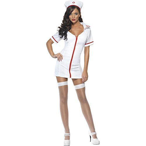 Nurse Costumes (Smiffy's Women's Fever No Nonsense Nurse Costume, Dress and Hat, Nurses, Fever, Size 6-8, 22016)