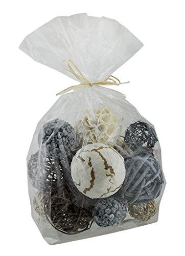 Zeckos 18 Piece Grey & Natural Brown Exotic Dried Organic Decor Balls