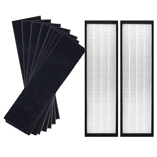 JUNHUI Air Purifier Filters Compatible with GermGuardian Air Purifier AC4825, AC4825E, AC4300BPTCA, AC4850PT, AC4900CA, CDAP450, Replacement FLT4825 Filter B, 2 HEPA + 8 Carbon Filters
