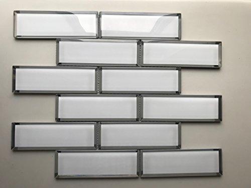 White Glass Mirror Beveled 2'' x 6'' Subway Tile Kitchen Backsplash Idea Bath Shower Wall Mosaics