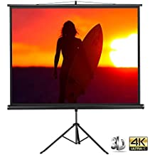 """Yaheetech Indoor Outdoor Movie Screen Home Cinema Projector Screen Diagonal Projection Pull Up Foldable Tripod Stand 84"""" Projector Screen"""