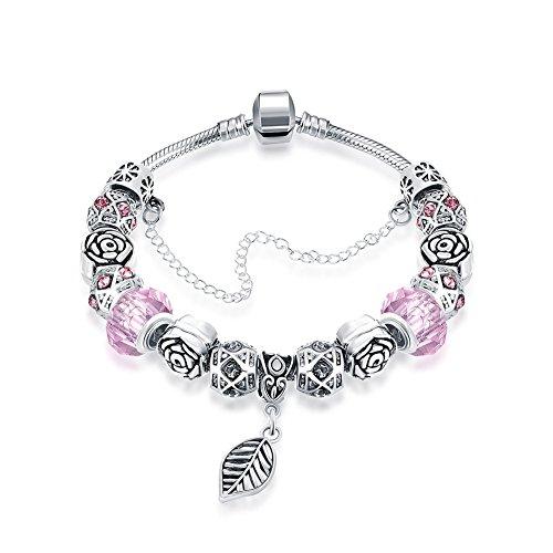 Naivo Designer Inspired Crystal Snake Chain Murano Glass Beads Charm Bracelet, Pink - Bead Pink Glass Bracelet