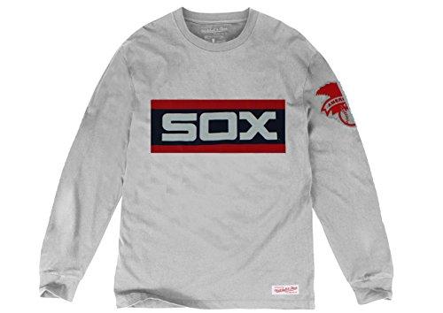 [MLB Mitchell & Ness Men's Hitting Streak Crewneck Long Sleeve T-Shirt (X-Large, Chicago White Sox)] (Chicago White Sox Star)