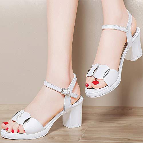 New AJUNR de Sandalias de y Madres Zapatos white Tacon Alto Avanzada Tacon Mediana Edad Edad de Zapatos señoras de de Ocio Transpirable Mujer TwwxrqE5