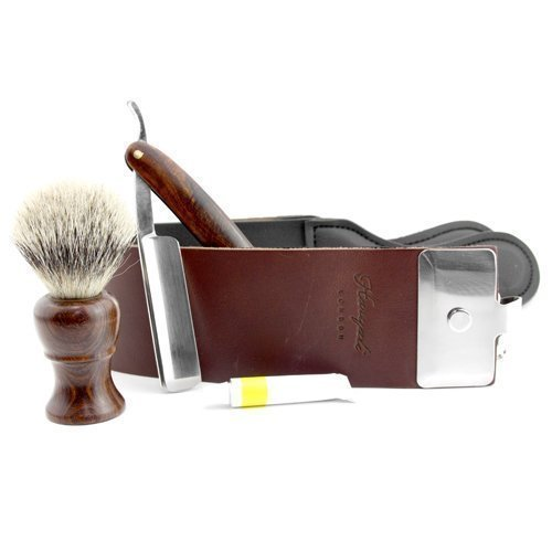 Haryali Hand Assembled Classic Collection Straight Cut Throat Wooden Shaving Razor Silver Tip Wooden Badger Hair Shaving Brush Brown Leather Strop & DOVO Honing Paste. by Haryali London