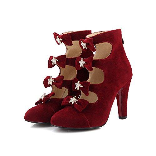 Fashion Heel Womens Stiletto High Heel Round Toe Bowtie Rhinestones Ankle Bootie Plus Size Red SlLLD