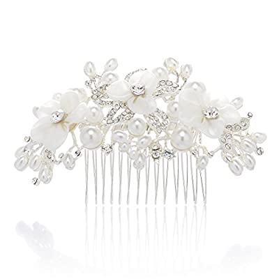 SWEETV Handmade Bridal Hair Comb Rose Gold Wedding Headpieces Crystal Pearl Comb for Bridesmaids