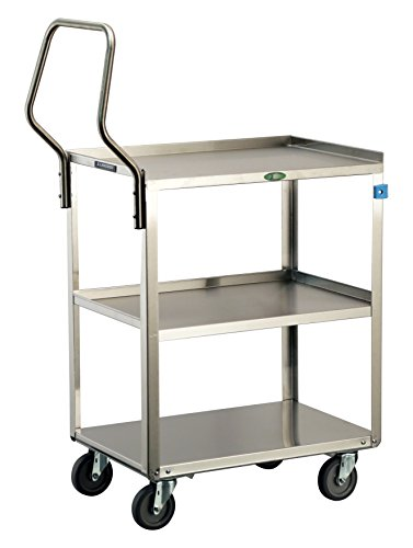 Lakeside 4411 Handler Series Stainless Steel Utility Cart 500 lb. Capacity, 3 Shelves, 17-3/4'' x 27-5/8'' x 45-3/8'' by Lakeside Manufacturing