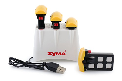 Syma X5UC/X5UW Battery Kit: Charging Cradle + 4 Pack Replacement Batteries (Kit Battery Compatible)