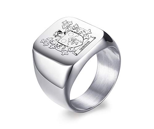 - MPRAINBOW Custom Personalized Family Crest/Arm Coat/Logo/National Emblem/Signet Ring Stainless Steel Ring for Men