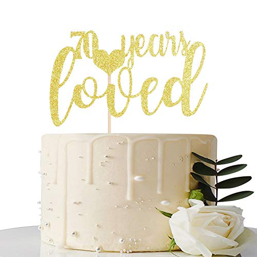 Gold Glitter 70 Years Loved Cake Topper-70th Birthday/Wedding Anniversary Party Sign Decorations (Best Gift For 70 Year Old Woman)