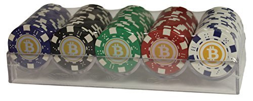 Bitcoin Poker Chip Set (Near Casino Quality)- 100 Chips With Hard Plastic Rack