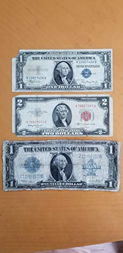 Large Silver Certificate - 1923 LARGE 1935-A $1.00 SILVER CERTIFICATES & $2 1953-C RED SEAL -3 OFF-GRADE VINTAGE NOTES-VERN'S CARD & COIN AG-03