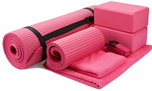 "BalanceFrom GoYoga 7-Piece Set - Include Yoga Mat with Carrying Strap, 2 Yoga Blocks, Yoga Mat Towel, Yoga Hand Towel, Yoga Strap and Yoga Knee Pad (Pink, 1/2""-Thick Mat)"