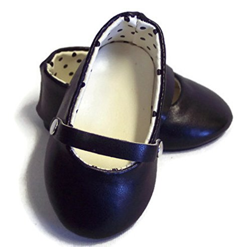 - 18 inch Doll Shoes-Black Flats Dress Shoes-Fits American Girl Doll