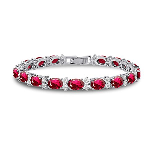 Kezef Cubic Zirconia Tennis Bracelet CZ Round Cut White 7x5mm Red Ruby Simulated Silver Plated Brass 7 inch -