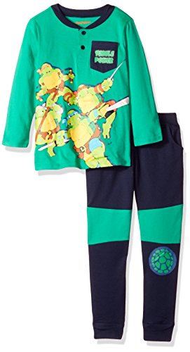 Pant Kids Turtle - Nickelodeon Boys' Little 2 Piece Ninja Turtle Henley with French Terry Pant Set, GreenM, 4
