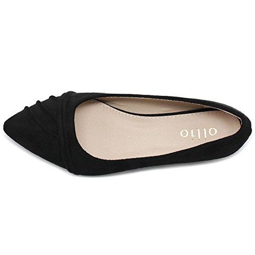 su Suede Ollio Toe Flat Shoe Dress Black Pleated Ballet Women's Pointed Faux rPPwSXq