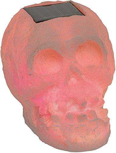 Solar LED Halloween Outdoor Skull Fright Light (White) (Translucent Resin Panels)