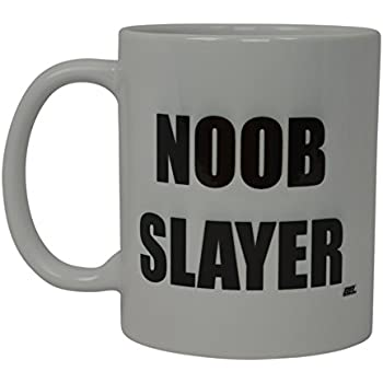 Best Funny Coffee Mug Noob Slayer Gamer Video Games Novelty Cup Great Gift Idea For Men or Women