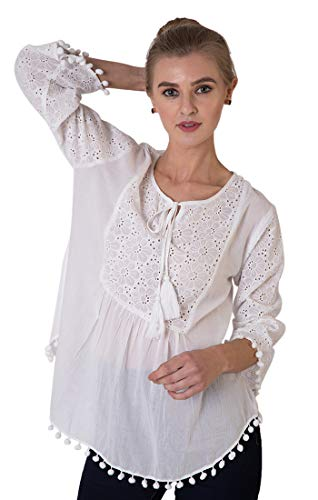 Indigo Paisley Alba Schiffli Embroidery Full Sleeve Blouse | Hand Made Tassels | 100% Cotton (M) ()