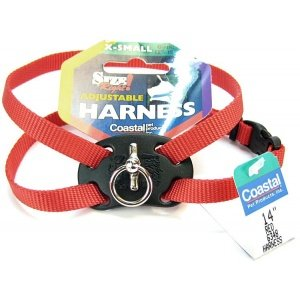 Size Right Adjustable Harness Red 12 to 18 Inches Girth with a Width of 3/8 in., My Pet Supplies
