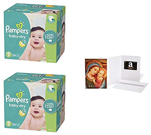 Diapers Size 2, 234 Count – Pampers Baby Dry Disposable Baby Diapers (2 Qty)   with Amazon.com $20 Gift Card in a Greeting Card (Madonna with Child Design)