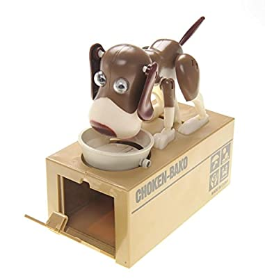 PowerTRC® Toy Figure Dog Piggy Bank (White Brown)