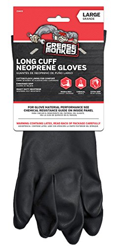 - Grease Monkey Neoprene Long Cuff Gloves, Large,  For washing dishes, cleaning cars, handling chemicals, or for extra grip