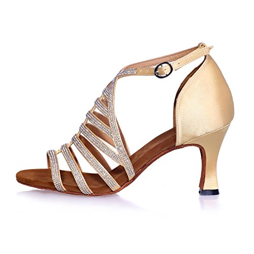 Customizable Dance Diamond Women L 24a 8349 YC artificial Gold Latin Leather Ballroom arch Shoes with ZOxzqw1Ax8