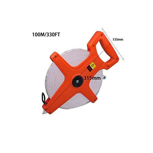 1PC 30M/100Ft 50M/165Ft 100M/330Ft Meter Open Reel Fiberglass Tape Measure inch Metric Scale Impact Resistant ABS Measure Tools,100M 330FT