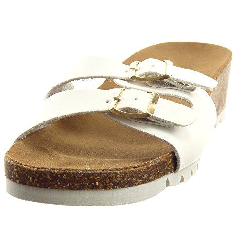 Sopily - Chaussures Mode Femme Sandales Ouvertes Avec Boucle En Métal Talon Compensé 4.5 Cm - Blanc