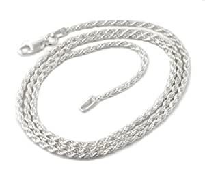 """2mm Sterling Silver 14"""" Diamond-Cut Rope Chain Necklace(Lengths 14"""",16"""",18"""",20"""",22"""",24"""",30"""",36"""")"""