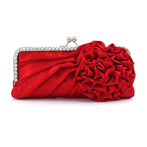 Womens Silk Pleated Satin Evening Handbag Floral Flower Clutch Bag with Rhinestone for Wedding Prom Party (Pleated Silk Like Satin)