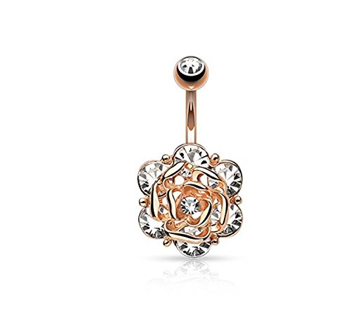 Jewels Fashion Flower Head with Gems CZ 316L 14GA Navel Belly Ring - Choose Silver Tone, Gold Tone, or Rose Gold Tone (Rose Gold Tone)