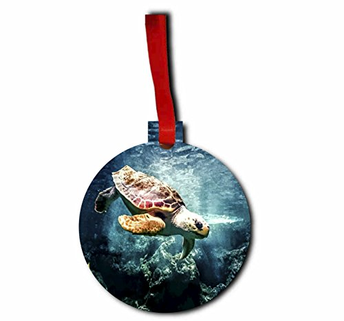 Turtle in the Ocean - Holiday Ornament - Hanging - Round Shaped - Flat - Hardboard - by Lea Elliot Inc. - Tortis Sale For